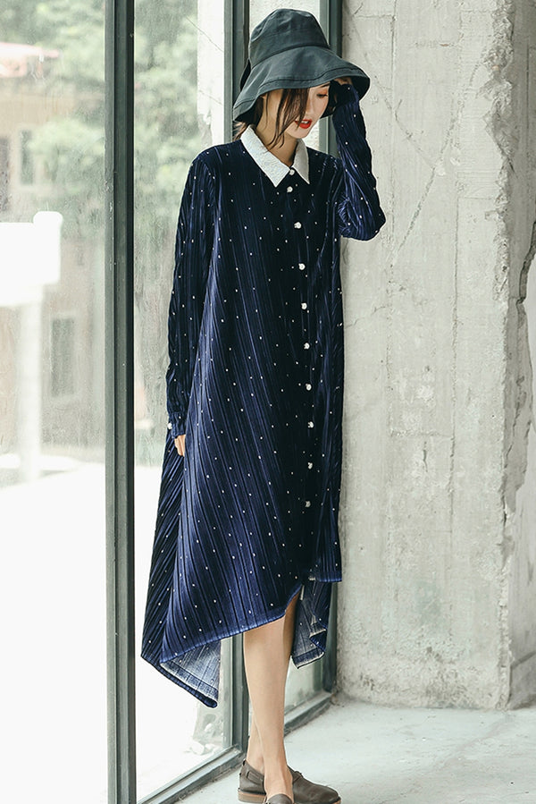 Fall Fashion Button Down Velvet Blue Shirt Dresses For Women Q1092