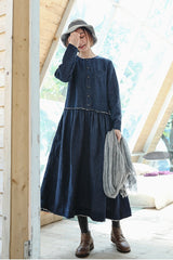 Elegant Women Cotton Linen Blue Maxi Dresses For Fall Q8921