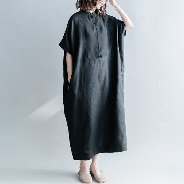 Casual Button Down Black Dresses Women Linen Kaftan Q1867