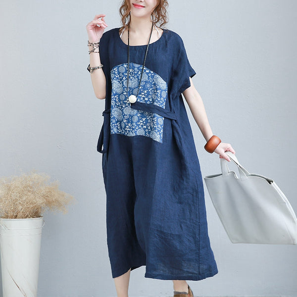 Vintage Print Long Blue Linen Dresses For Women 2124