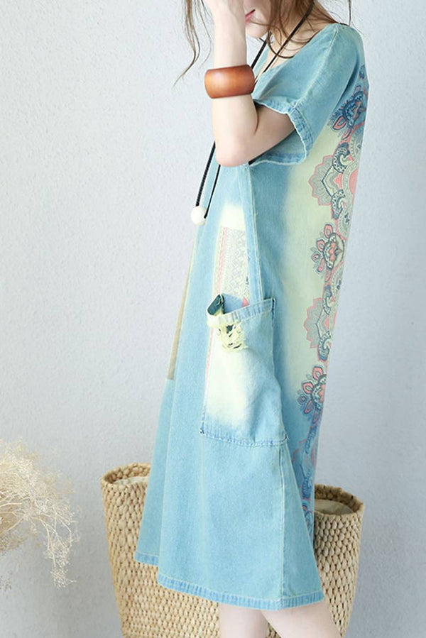 Women Summer Loose Cotton Denim Dress Vintage Clothes 0531