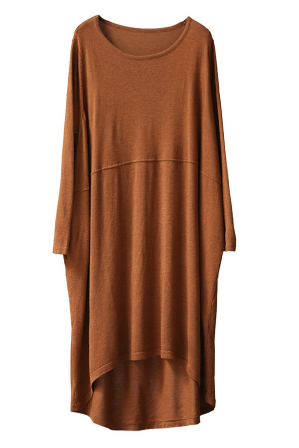 Cotton Long Sleeve Plus Size Loose Dresses For Women Q8593 - FantasyLinen
