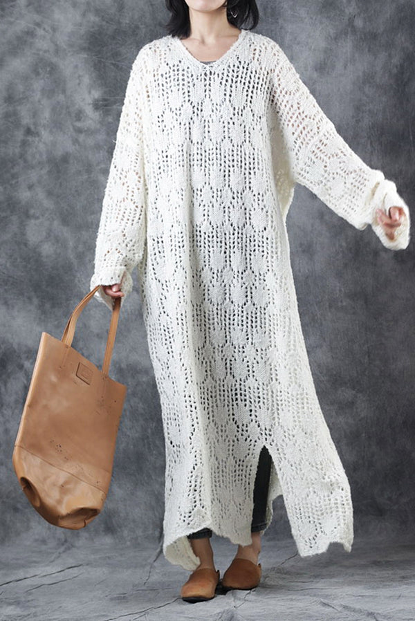 Elegant Loose Purple Knitted Long Sweater Dresses Q2917