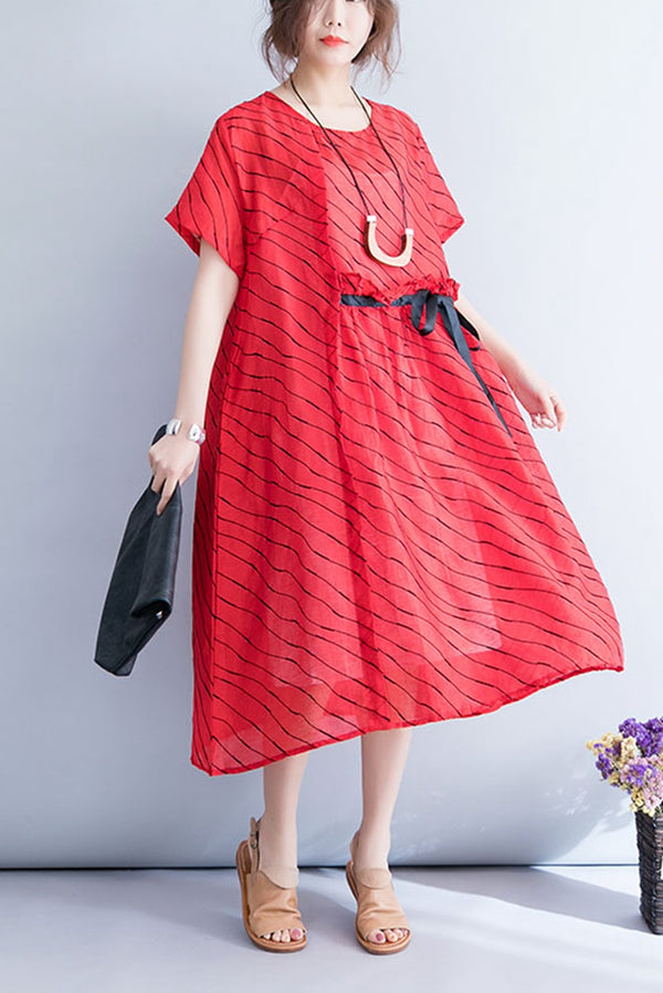 Summer Casual Striped Linen Long Dress Women Clothes Q7057