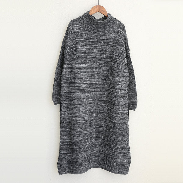 Loose High Neck Knitted Sweater Base Cotton Dresses Women Casual Clothes Q1738