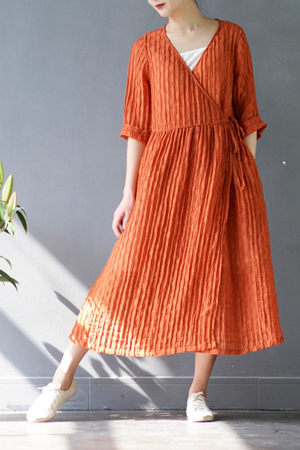 Summer Drawstring Linen Dress Plus Size Pleated Skirt S205