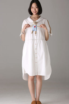 Casual Button Down Cotton Dresses Women Fashion Clothes Q8985