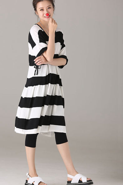 Fashion Striped Knitted Dresses Women Casual Clothes Q2823