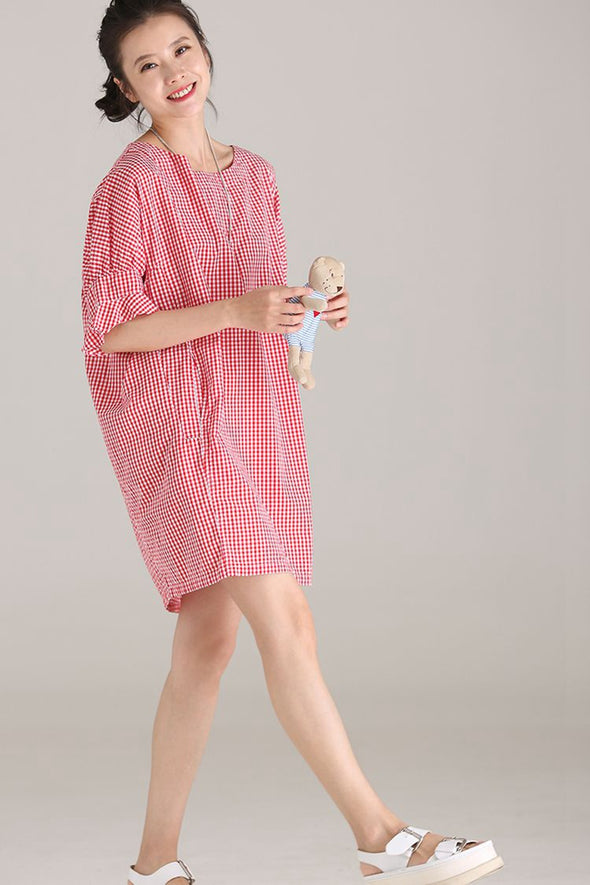 Cute Ruffle Sleeve Plaid Red Dresses Women Fashion Clothes Q8816