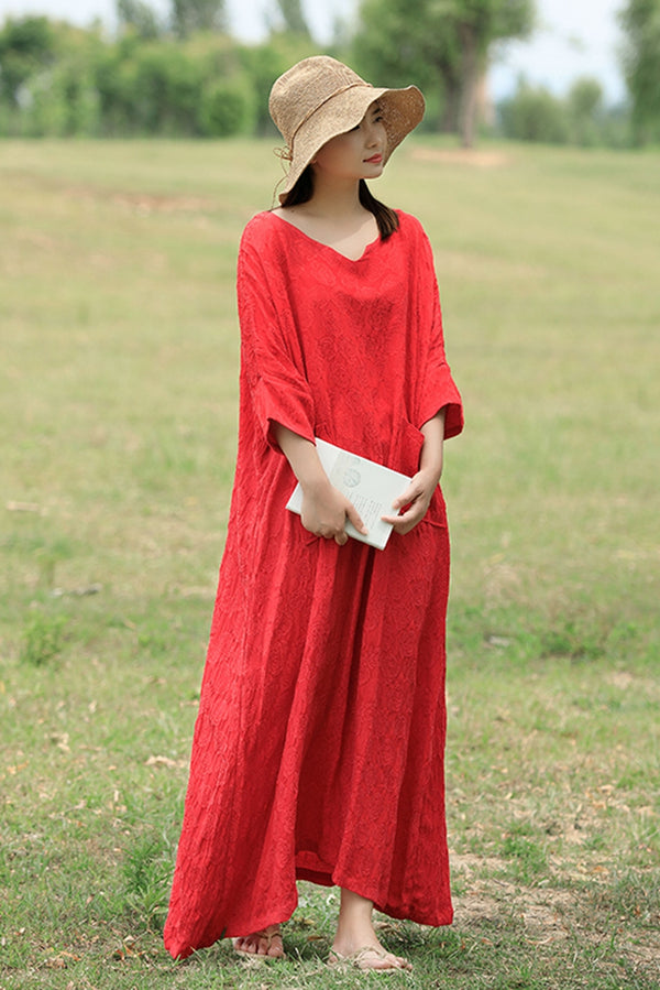 Casual V Neck Maxi Dresses Women Loose Cotton Linen Outfits Q1674