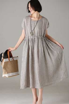 Loose Striped Linen Dresses Women Casual Outfits Q8107