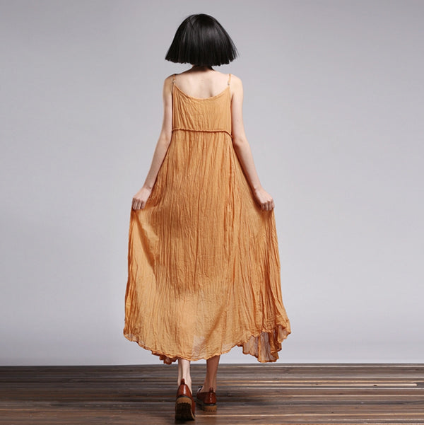 Summer Cotton Linen Loose Ruffle Strap Beach Dresses Q1553