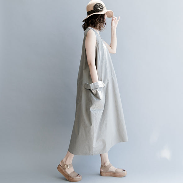 Casual Sleeveless Cotton Dresses Women Long Clothes Q1869