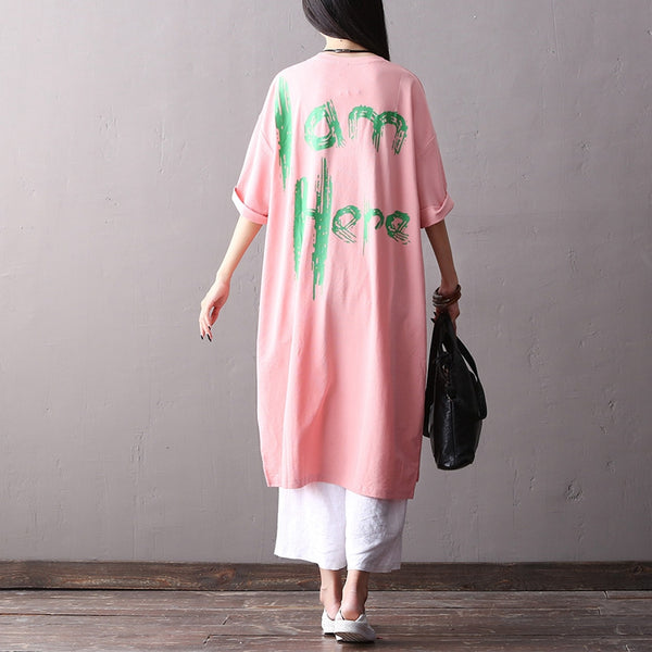 Loose Letter Print Long Dresses Women Cotton Clothes Q2161