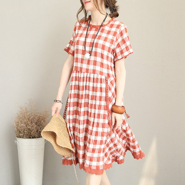 Summer Plaid Cotton Linen Dresses Women Cute Clothes Q1230