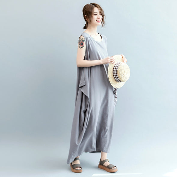 Fashion Gray Cotton Linen Maxi Dresses Women Casual Clothes Q3074