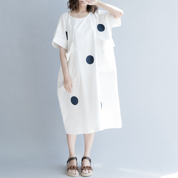 Cute Dot Cotton Long Dresses Women Casual Clothes Q1961