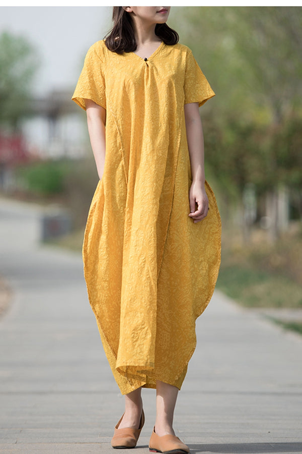 Summer Vintage V Neck Maxi Dress Women Gown Q70516