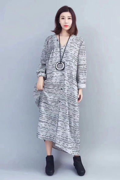 Casual Cotton Linen Maxi Dresses Women Clothes For Fall 817