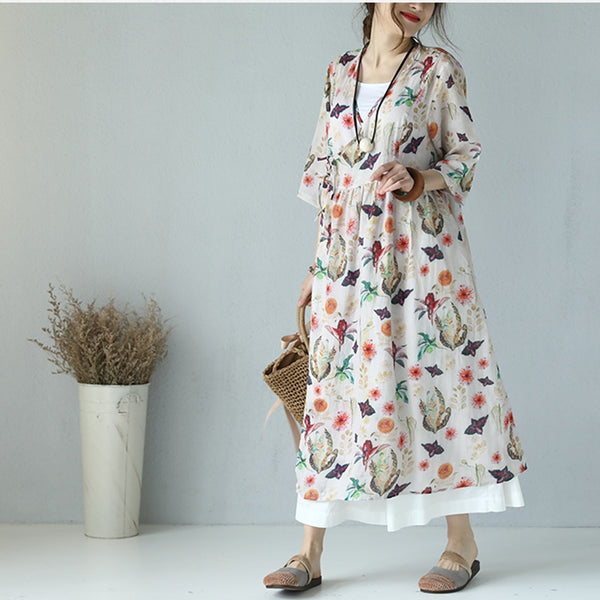 Summer Print Floral Dresses Linen Clothes For Women Q9781
