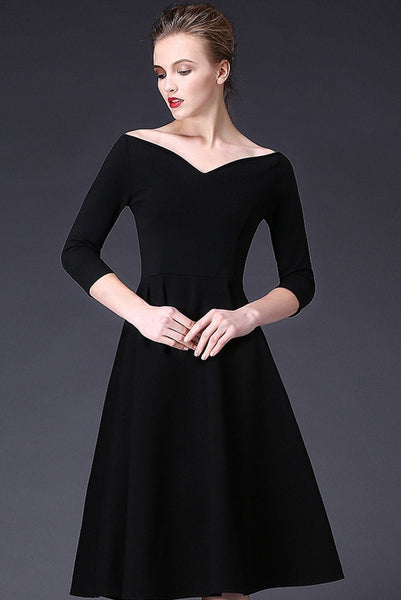 V-Neck Elegant Long Black Dress