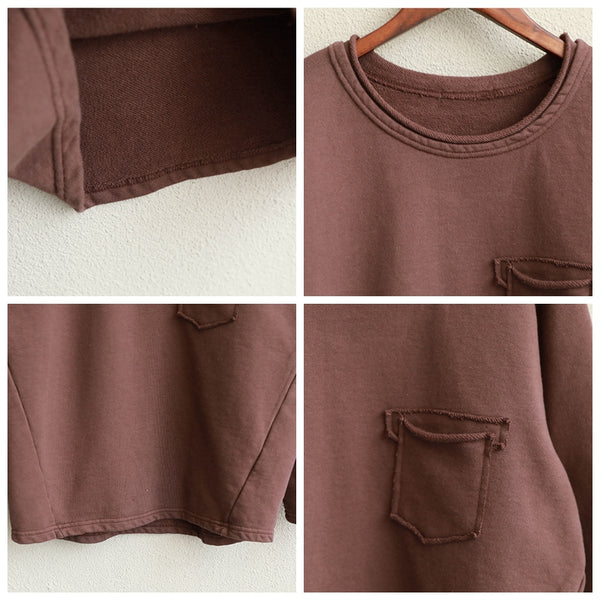 Women Loose Brushed Thicken Cotton Shirt Casual Tops Q1959