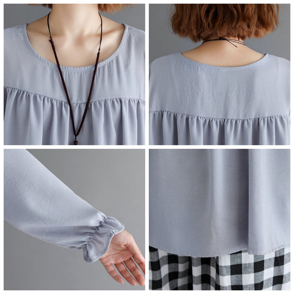 Cute Loose Blue Doll Shirt Women Casual Tops S31122