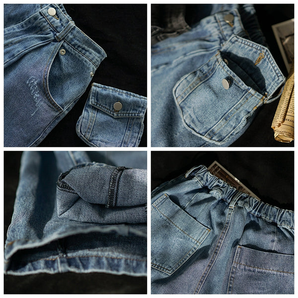 Women Black And Blue Casual Jeans For Spring K1344