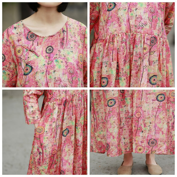 Loose Vintage Red Print Linen Dresses Women Spring Clothes Y792