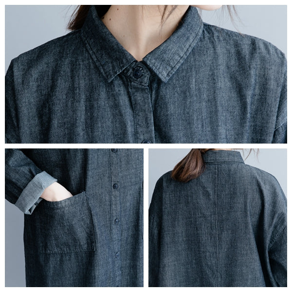 Simple Blue And Black Long Cotton Linen Blouse For Women S19037