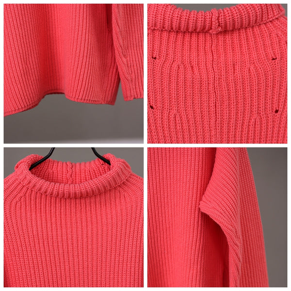 Women Loose High Neck Thick Sweater Casual Winter Tops M1822