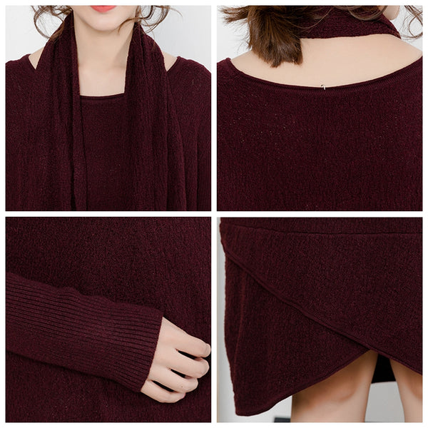 Casual Elegant Pure Color Knitted Dresses With Scarf For Women Q5119