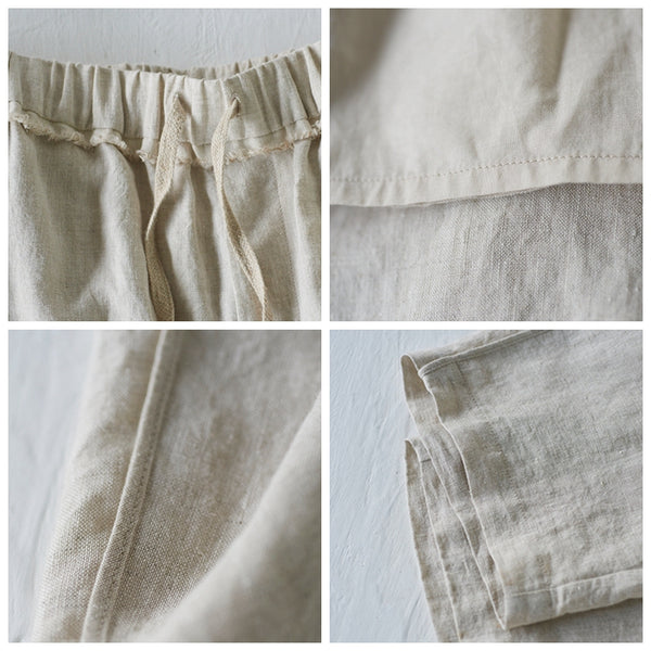 Women Beige Linen Casual Pants Summer Cool Trousers K6050