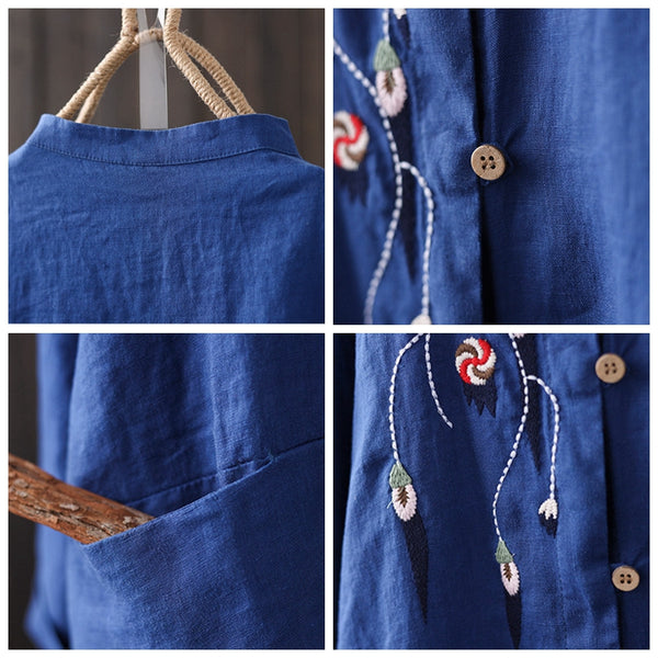 Fashion Embroidery Vintage Loose Linen Shirt Women Casual Tops S8015