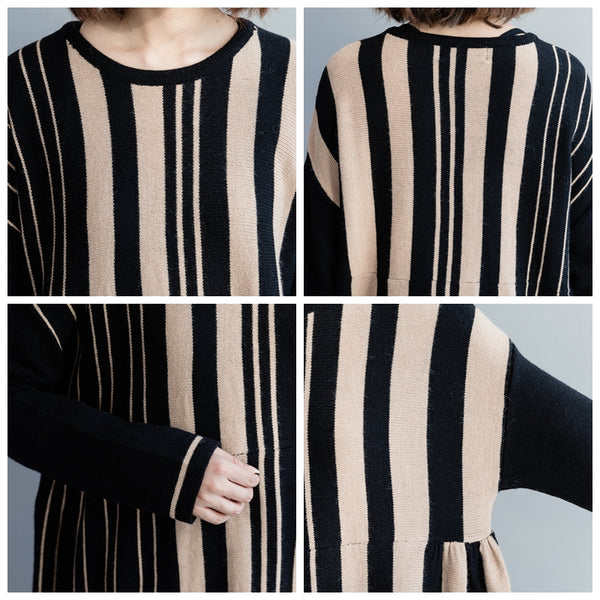 Black Striped High Waist Loose Knitted Dresses For Women Q3124