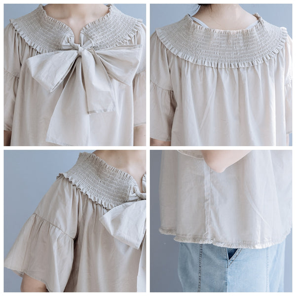 Black And Beige Bowknot Cotton Summer Blouse For Women S10062