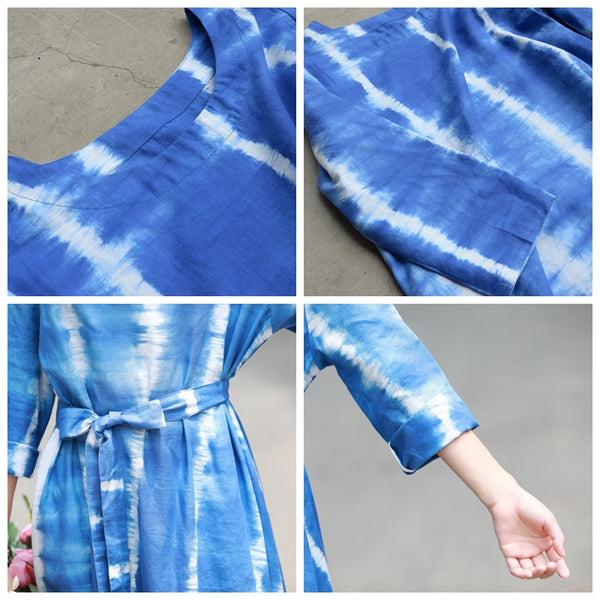 Loose Blue Cotton Linen Maxi Dresses Women Casual Spring Gown Y719