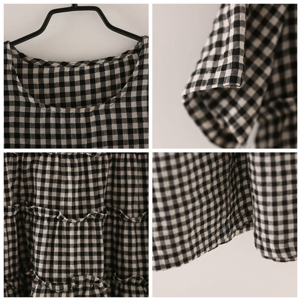 Fashion Black Plaid Cotton Linen Dresses Women Casual Outfit Q8166