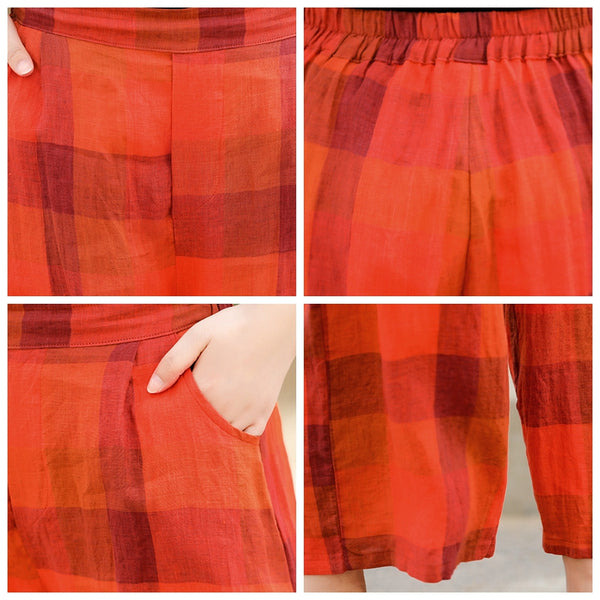 Casual Red Plaid Linen Wide-leg Pants Women Loose Summer Trousers K13051