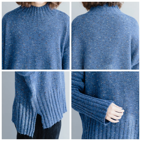 Blue High Neck Casual Loose Sweater For Women M1211