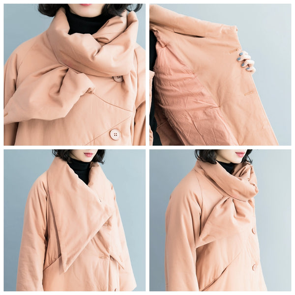 Casual Women Loose Thicken Pink Cotton Coat For Winter C1212
