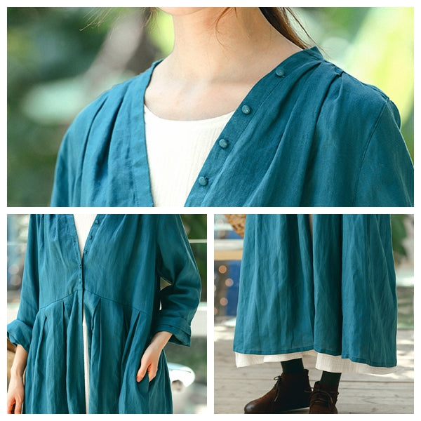 Fall Fashion Blue Linen Long Wind Coat For Women W8824