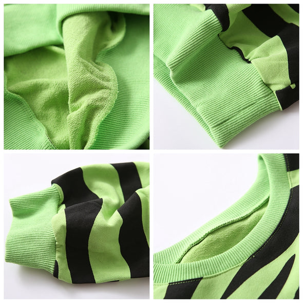 Casual Striped Cotton Fleece Women Fall Loose Tops R6815