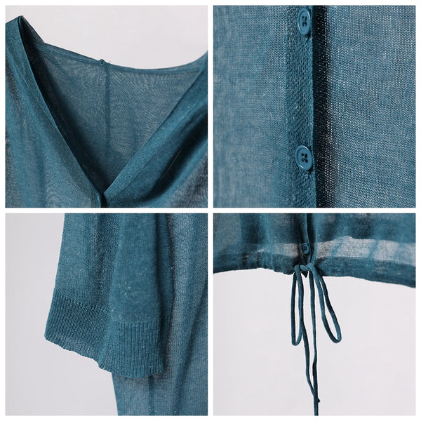 Summer Blue Hoodie Drawing Thin Knitwear Women Casual Tops Z2809