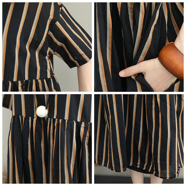 Loose Striped Black Maxi Dresses Women Casual Clothes Q1277