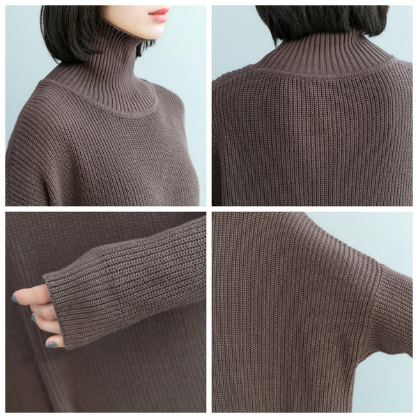 Women Loose High Neck Sweater Dresses Casual Clothes Q17121