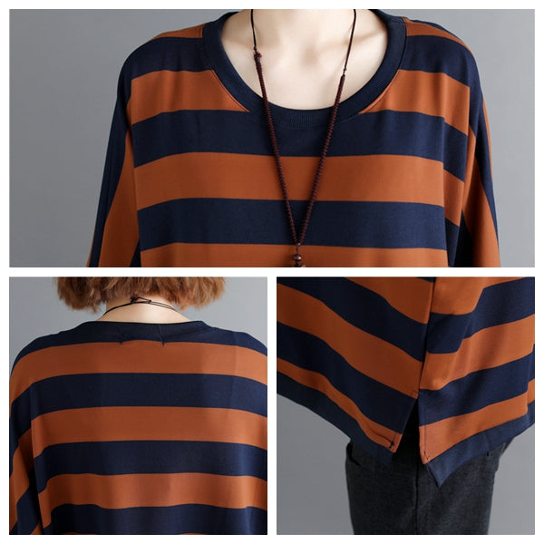 Women Loose Striped Cotton Shirt Sprig Casual Tops S7014