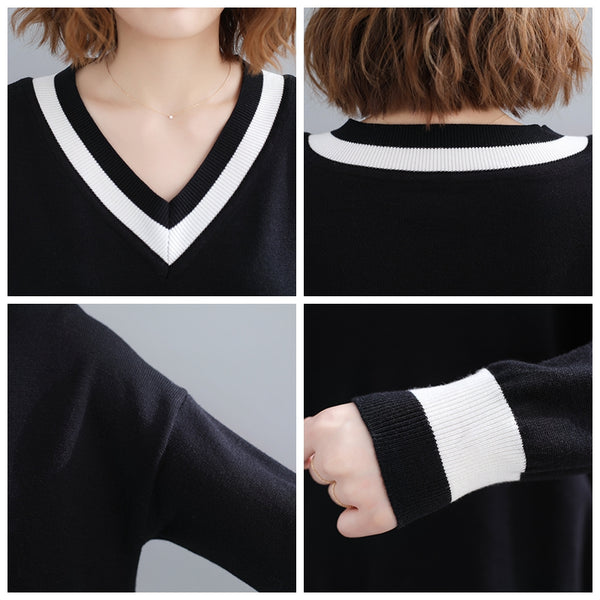 Black and White Loose Knitwear Women Spring Casual Tops M31120