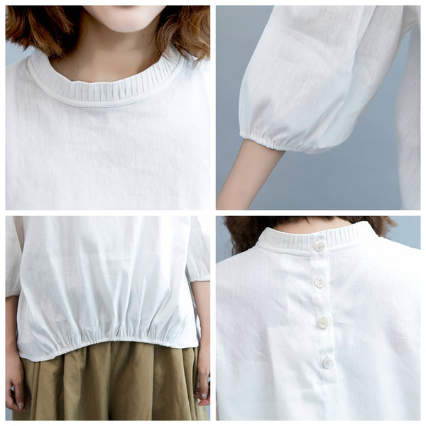 Cute White Linen Shirt Women Fall Casual Blouse S7080