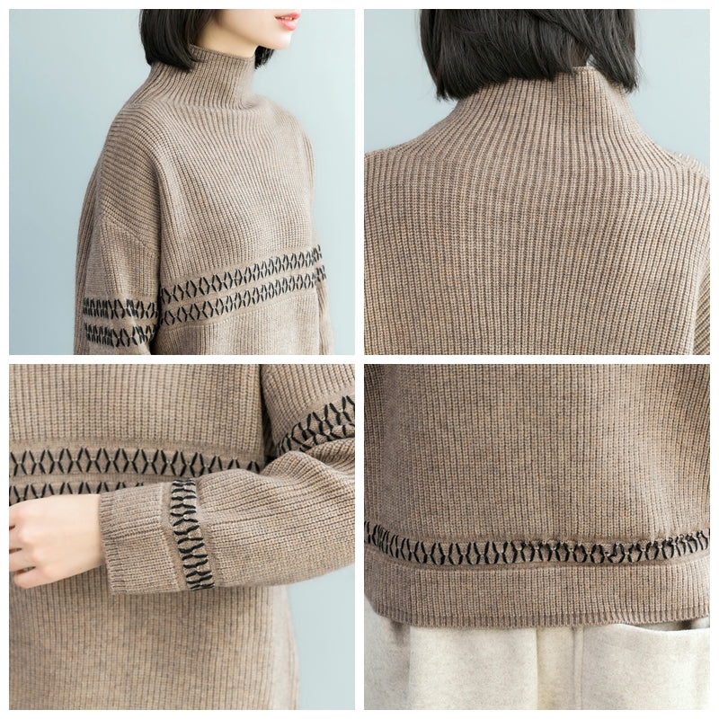 eeef393dd30790 Casual High Neck Loose Sweater Women Winter Tops M17122